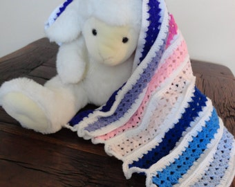 Hand Crocheted Baby Blanket. Pinks, Mauves and blues stripe. Suitable for car seat, crib, pram or moses basket. Ideal just to wrap baby in.