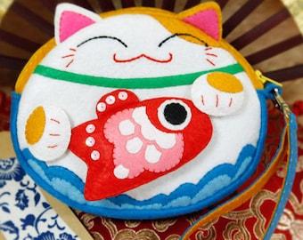 DIY Kit Lucky Cat Felt Coin purse / Round bag