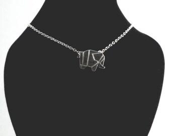 Origami Elephant Necklace, Elephant Necklace, Minimalist Elephant Charm Necklace, Elephant Charm Necklace, Silver Elephant Necklace