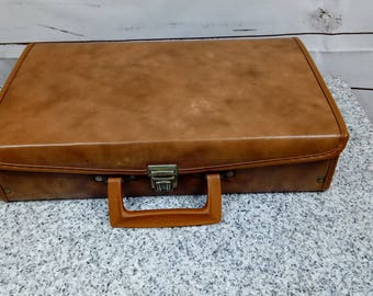 Vintage Cassette Tape Storage Faux Leather Box Brief Case With Handle 24 Slots