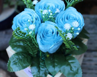 Rose Wooden Box, Old English Rose, Flower Box, Valentine Flower, Flower Wooden Box, Crepe Paper Flower, Blue Flower, Valentine's Flower