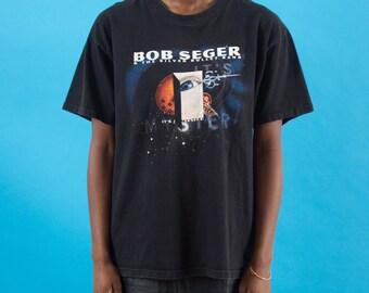 Bob Seger, Vintage, Band Shirt, Vintage Rock, 90s Music, American, Kitsch, 90s Tshirt, 90s Clothes, Rock And Roll, Merch, Black Band Tshirt