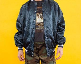 Varsity Jacket, 1990, 90s, Bomber Jacket, Vintage Jacket, Freedom Ride, Denver, Letterman Jacket, Jacket, Baseball Jacket, Black, Shiny,