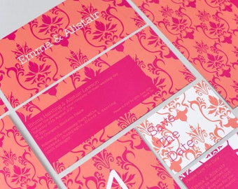 Damask Orange & Pink Invitation