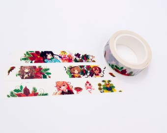 Comic masking tape,Japanese anime masking tape,Manga washi tape, Girl Washi Tape, Floral Stationery, Japanese Girl Washi Tape, Girls Washi