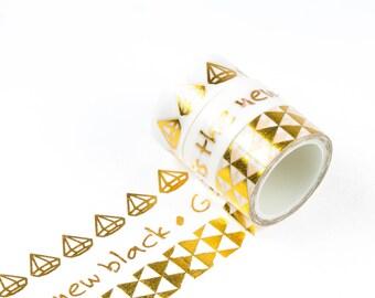 Set of 3 gold foil washi tape