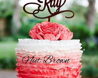 Custom Wedding Cake Topper Personalized Cake Topper for Wedding Mr and Mrs Cake Topper Wood Monogram topper Last Name Cake Topper gold
