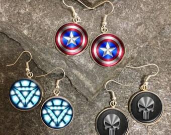 Superhero Earrings, Superhero Dangle Earrings, Superhero Charm Earrings, Superhero Stud Earrings