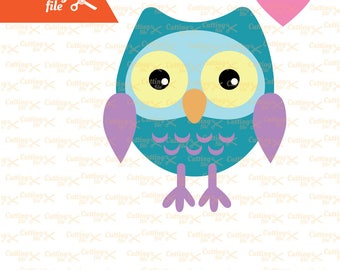 Cute owl SVG PNG DXF Eps cutting file, Owl Svg, Cute Owl, Svg Cutting Files, for Cricut & Silhouette, owl with heart Svg