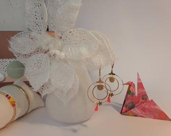 Coral hoop earrings