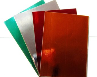 Set of 4 metallic adhesive paper