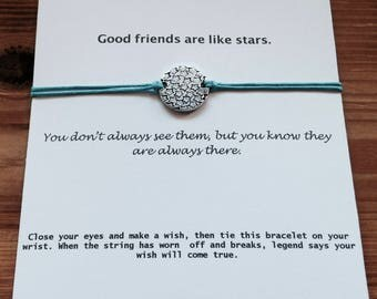 Good Friends Are like Stars, Friendship Bracelet, Wish Bracelet, Stars Bracelet, Make a wish, Best Friend, Long Distance Friendship,