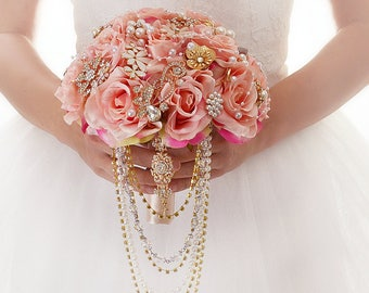 Roses Cascade Wedding Bouquet Blush Pink Brooch Bridal Gold