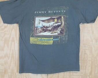 Vintage 1990's 1995 JIMMY BUFFET Barometer Soup Concert Cotton Giant Label T Shirt T-shirt Tee Large XL / L