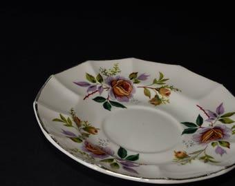 """STAFFORDSHIRE, England, Bone China, Vintage, Saucer Only, Orphan Saucer, Empire Porcelain,""""Debutante"""", Reg. no. 900870,Floral, Red/Gold Buds"""