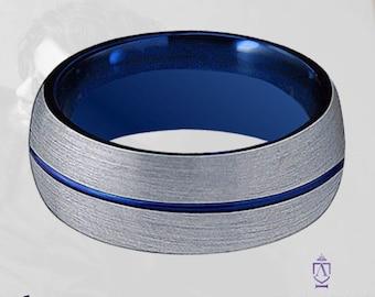 Thin Blue Line Tungsten Wedding Ring