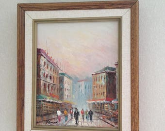 Beautiful City Original Vintage Painting Signed P Bernard Wood Frame