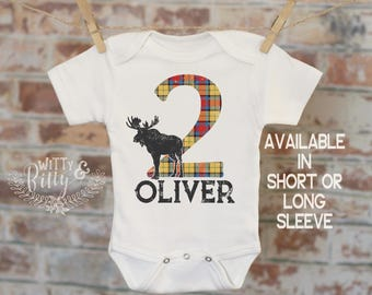 Second Birthday Scottish Plaid Customized Onesie®, Buffalo Plaid Birthday, Custom Baby Outfit, Personalized Onesie, Boys Birthday - 437O