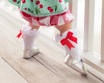 Girls Knee High Socks with Ruffle and Bow Detail- Fits 2-8 years