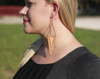 Lauren Natural Triangle Earrings | Leather Earrings | Birthday Gift | Anniversary | Gifts under 25 | Handmade | Gifts for Her