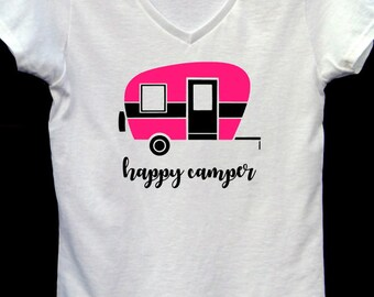 Women's V-neck Happy Camper T-Shirt