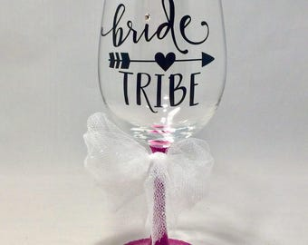 Bride Tribe Wine Glasses 4 Pack, Bachelorette Party, Shower, Gift, Reception, Bridesmaids' Gifts, Wedding Planning, Wedding Decor