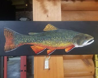 Large Brook Trout Acrylic Painting On Wood - Realistic Painting