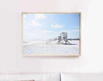 Lifeguard tower Print, Beach wall art, Beach print, Beach photography, Lifeguard tower poster, Nature wall art, Summer wall art, Large print