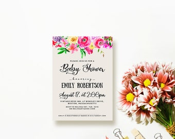 Watercolor Flowers Baby Shower Invitation Printable Baby Girl Shower Invites Summer Floral Invitations Editable Digital DIY Ivory Invitation