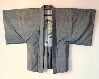 Authentic Japanese Vintage Grey Silk Haori Hi-ge Tsumugi M155