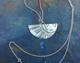 On-off Etched Half-Moon Chain with Stylized Solar Rays Brass and Sterling Silver Boho Hippie and Celestial