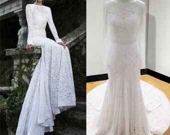 """Wedding dress """"Velisa"""",wedding dress with sleeves, lace wedding dress, lacy dress with open back, wedding dress with train"""