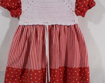 Vintage Handmade 1960s Knit Top Red & White Candy Cane Stripes and Polka Dot Dress