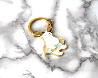 Cute Polar Bear Enamel Keychain, Boho Animal Keychain, Cool Gifts For Her, Adorable Keychain, Funny School Gifts For Teen Daughter Under 15