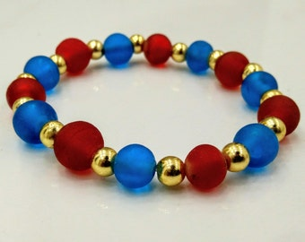 handmade stretchy beaded bracelet in red and blue