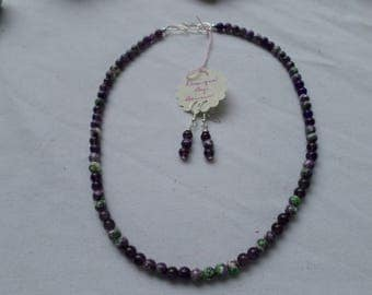 Flower Jasper and Genuine Amethyst  with Matching Earrings