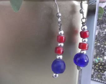 Dangle Blue and Red Earrings