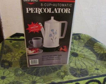 New!! Vintage West Bend 8- Cup Coffee Maker/ Percolator.