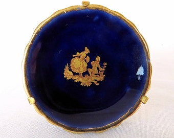 Vintage small La Seynie Limoges porcelain plate from France, dark blue with gold accents