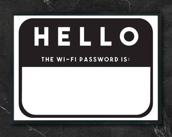 Wifi Password Sign, Wifi Password Printable, Cuttable, SVG, Vinyl, Sticker, Digital File, DXF, Scalable, Print, Cut File, Vector