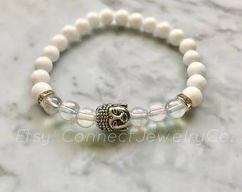 Natural White Jade and Aura Quartz Gemstone Buddha Bracelet - FREE SHIPPING