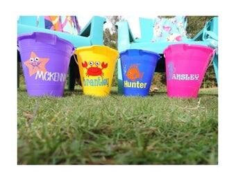 monogram sand bucket/ personalized kids beach bucket/ cute sand pail with shovel/ boys girls kid children beach personalized toy