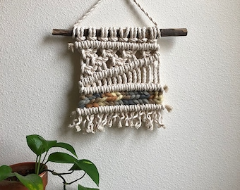 Small Macrame/Macraweave Wall Hanging with Woven Gray, Yellow, Brown, and Blue Yarn, Woven Wall Hanging, Boho Home Woven Tapestry
