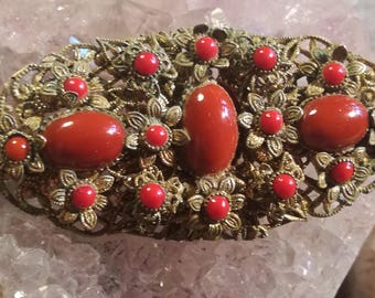 Vintage, brooch, brooches, antique, coral, coral, Biedermeier, B26