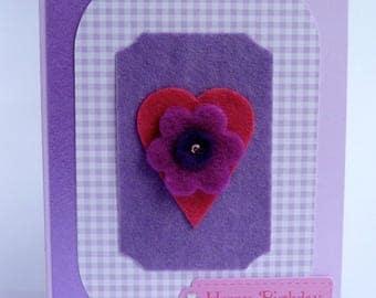 Handmade card. Original . Heart/flower, purple,pink Birthday greeting card. Mum, daughter, gran, sister Birthday.