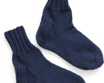 Hand-knitted Wool Socks NAVY By VidaFelt - Size 40-42 - Free Shipping!