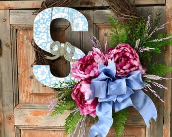 The Stacey spring peony wreath/farmhouse wreath/housewarming gift/monogrammed wreath/easter wreath for front door/Valentine's Day wreath/