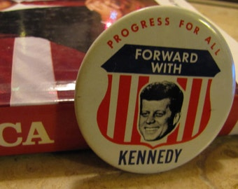 Vintage Political Campaign Button made by Kleenex Tissue in 1968 Forward with Kennedy