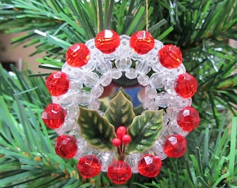 Beaded Mirror Christmas Ornament With Holly