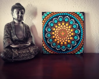 Send on canvas 20 cm x 20 cm. Hand painted. Dot Mandala Painting. Mandala meditation. Dot Art. Acrilic painting. Canvas. Pointillism